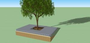 Overzicht bufferklinker rondom bomen